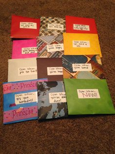 """So I did these forever ago, but I thought I would finally put it up! I love """"Open When. There are tons of different ideas and di. Birthday Gifts For Boyfriend Diy, Creative Gifts For Boyfriend, Creative Birthday Gifts, Birthday Gifts For Best Friend, Diy Birthday, Best Friend Gifts, Graduation Gifts For Daughter, Birthday Cards, Letters To Boyfriend"""
