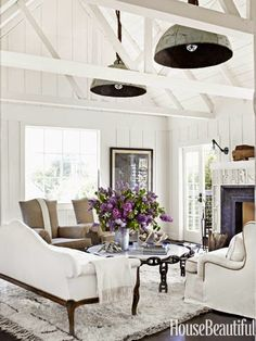 Beach Cottage Living Room With Stunning Architectural Detail !
