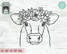 Flower On Head, Flower Crowns, Cow Tattoo, Cow Head, Cow Face, Cow Painting, Cute Cows, Animal Faces, Floral Crown
