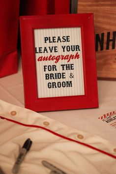 Instead of a traditional guest book, get creative with your favorite team's apparel. Take a note from this baseball themed sign and have your wedding guests sign jerseys to display in your home. Softball Wedding, Sports Wedding, Trendy Wedding, Baseball Wedding Shower, Baseball Wedding Favors, Elegant Wedding, Wedding Themes, Wedding Signs, Our Wedding