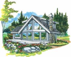 A-Frame House Plan with 1498 Square Feet and 3 Bedrooms(s) from Dream Home Source | House Plan Code DHSW04032