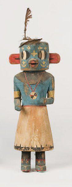 Kachina HO-OTE HOPI , circa 1950 Il a perdu les ornements classiques cornus