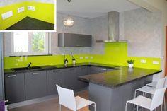 Bright Kitchen Splashbacks. Green & Grey