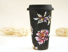 Black Ceramic Eco-Friendly Travel Mug Orchids and by yevgenia