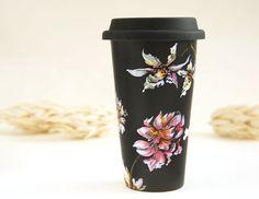 Black Ceramic Eco-Friendly Travel Mug Orchids and by yevgenia