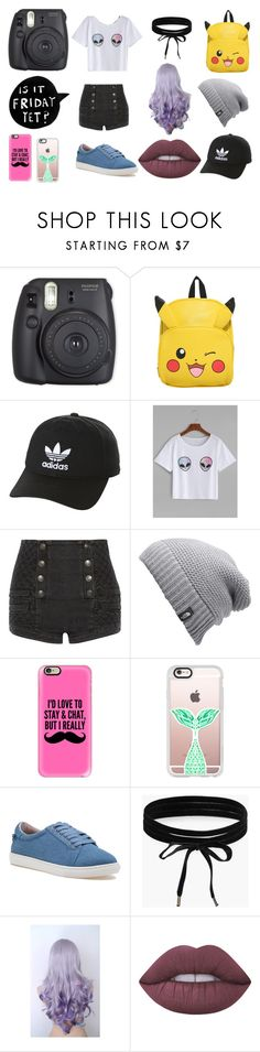 """Where is Friday???"" by izzymaster ❤ liked on Polyvore featuring adidas Originals, Pierre Balmain, The North Face, Casetify, J/Slides, Boohoo and Lime Crime"