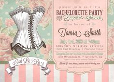 Custom Printable Vintage or Victorian Lingerie Shower and Bachelorette Party Invitation