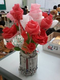 7B grade craft. They made flower from plastic bag. Really beautiful, right?