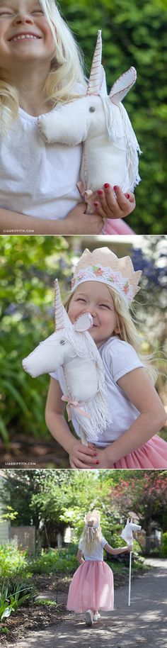 DIY Felt Stick Unicorn Horse is part of Felt crafts Unicorn - Make this adorable unicorn horse for your little princess Made from felt and a wooden dowel, this project is easy to make Unicorn Diy, Unicorn Headband, Unicorn Birthday, Unicorn Horse, Felt Diy, Felt Crafts, Chateau Fort Moyen Age, Diy Crafts For Kids, Gifts For Kids