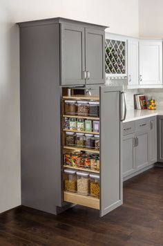There is no question that designing a new kitchen layout for a large kitchen is much easier than for a small kitchen. A large kitchen provides a designer with adequate space to incorporate many convenient kitchen accessories such as wall ovens, raised. Kitchen Pantry Design, Diy Kitchen Storage, New Kitchen Cabinets, Modern Kitchen Design, Home Decor Kitchen, Interior Design Kitchen, Home Kitchens, Kitchen Appliances, Small Pantry Cabinet