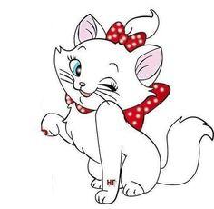 Marie - The Aristocats Disney Drawings, Cartoon Drawings, Art Drawings, Kitten Cartoon, Cartoon Pics, Animation, Marie Cat, Gata Marie, Disney Clipart