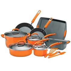 Rachael Ray Porcelain Enamel II Nonstick 15Piece Cookware Set Orange ** You can get additional details at the image link.  This link participates in Amazon Service LLC Associates Program, a program designed to let participant earn advertising fees by advertising and linking to Amazon.com.