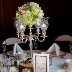 Real Weddings - An Outdoor Wedding in Clarkston, MI - Candelabra Floral Centerpieces