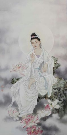 Beautiful depiction of her robes, and partially seated.