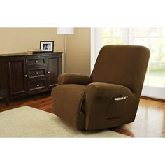 Better Homes and Gardens One-Piece Stretch Fine Corduroy Recliner Slipcover.   $60 at walmart.com.   dark brown, tan, blue, burgundy