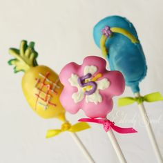 Luau party cake pops