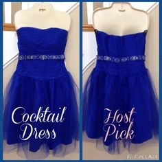 """JJs House Cocktail Dress Formal Prom Homecoming HOST PICK • JJ's House custom made, A-line, cocktail dress. Royal blue color. Sweetheart top. Strapless with built-in corset boning & bra-like support. Elegant ribbon accent with silver sequins & beads. Tulle overlay on top and skirt. Satin shell. Back zipper & hook-&-eye closure.  • Made for 34.5"""" bust & 32"""" waist. Knee length. Comparable (in my opinion) to size 8. Can be altered by a professional. • 100% polyester.  • New with tags (NWT)…"""