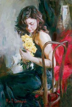 Yellow Roses by Michael and Inessa Garmash, a limited edition available from J Watson Fine Art 661 your source for Garmash art. Woman Painting, Painting & Drawing, Painted Ladies, Anime Comics, Portrait Art, Female Portrait, Yellow Roses, Beautiful Paintings, Female Art