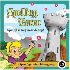 SPELLINGTOREN SPE(E)LT JE WEG NAAR DE TOP! LG OPEN/GESLOTEN LETTERGREEP. Elk Spellingtoren-spel bevat 8 spellen van 6 kaarten om te leren spellen. Leerlingen zoeken spelfouten, terwijl ze Spellingtorens bouwen. Elke spe (e)lset bevat 288 algemene woorden uit de spellingcategorieën van de betreffende groep.