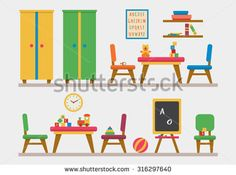 Kindergarten preschool playground. Children's table with toys, wardrobe, cubes and chalk board. Flat style vector illustration.