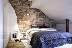 Cosy bedroom, brick wall bedroom, bedroom inspo, bedroom decor, attic r Woman Bedroom, Bedroom Red, Bedroom Decor, Cosy Bedroom, Bedroom Inspo, Attic Bedrooms, Guest Bedrooms, Scandinavian Interior Bedroom, Brick Wall Bedroom