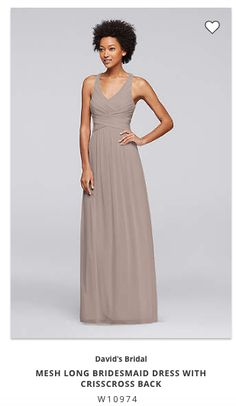 163aa1cb8db This long mesh bridesmaid dress is a flattering option thanks to the fitted  bodice