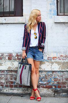 striped blazer, t-shirt, boyfriend shorts, colorful sandals