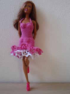 Barbie fuchsia crochet dress