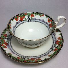 AYNSLEY A4844-5 ORANGE Fruit tree Cup & Saucer by BelleChambers