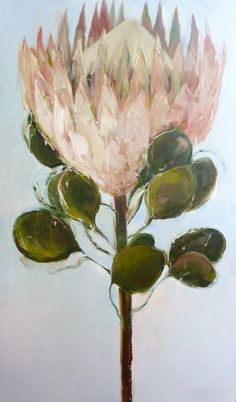 Nicole Pletts, Protea Oil on Canvas Commission Protea Art, Protea Flower, Botanical Drawings, Botanical Art, Beautiful Drawings, Beautiful Paintings, King Protea, Different Flowers, Love Painting