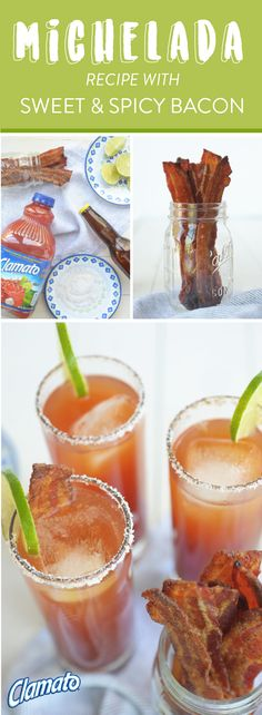 This recipe for a Michelada with Sweet and Spicy Bacon is the best for cocktails with a kick. Clamato®, fresh lime, Worcestershire sauce, hot sauce, ice, and a light Mexican beer are all you need to create your new signature party drink—just don't forget the salted rim and sweet and spicy bacon garnish! You're sure to agree that authentic ingredients always make the best summer beverages. Pick up all the items you need at your local Albertsons, Safeway, Pavilions, Tom Thumb, or Vons store.