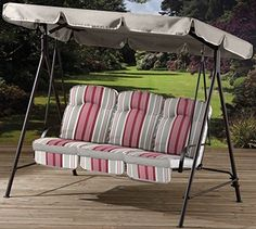 Garden Patio 3 Seat Hammock Metal Swing Furniture With Cushions