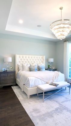 Master Bedroom with Light Blue Walls Master Bedroom with Light Blue Walls The Decorating Coach For DIY Decorators thedecoratingcoach Bedroom Design Tufted Ivory headboard chunky nbsp hellip master bedroom videos Bedroom Decor Master For Couples, Couple Bedroom, Master Bedroom Design, Home Decor Bedroom, Bedroom Retreat, Ikea Bedroom, Master Suite, Adult Bedroom Ideas, Girls Bedroom