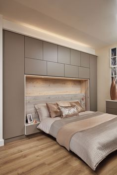 Contemporary Willow bedroom with built-in overhead storage