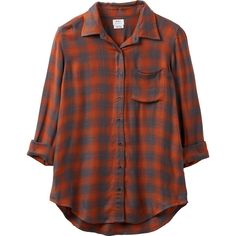 York Plaid Button-Up Shirt RVCA ($79) ❤ liked on Polyvore featuring tops, plaid button up shirts, brown button up shirt, button down shirts, brown shirts and long sleeve shirts