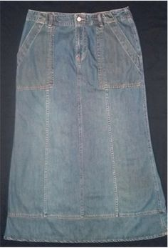 Old Navy Long Denim Skirt Women Antique Wash Blue Jean Modest No Slits A Line 8