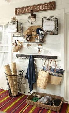Baskets on walls farmhouse shiplap entry hooks