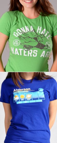 """Get used to hearing, """"Where'd you get that shirt? I love it!""""  """"Gonna Hate, Haters Are""""  and """"Alderaan"""" graphic t-shirt for men, women and kids. Whether you're looking to upgrade your t-shirt collection or need a clever gift for someone special, SnorgTees is a must."""