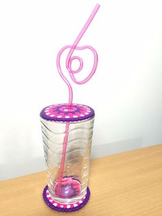 Pink & Purple Handmade Fuse Bead Coaster & Drink Guard Glass Protector