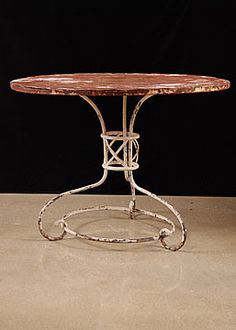 "French Antique Iron Garden Table    Diameter: 39""    Height: 30"""