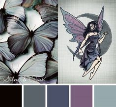 Butterflies and bright designs don't always have to be neon and pinks. Find the duskier elegance in cool, dark colors with this Silver and Dusk color inspiration. Dark, dusty tones have a soft touch w