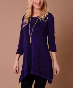 Purple Metallic Sweater Sidetail Tunic
