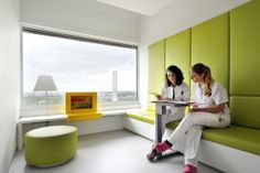 Tall-backed bench with storage Healthcare Architecture, Hospital Architecture, Healthcare Design, Clinic Interior Design, Clinic Design, Commercial Design, Commercial Interiors, Medical Office Design, Office Interiors