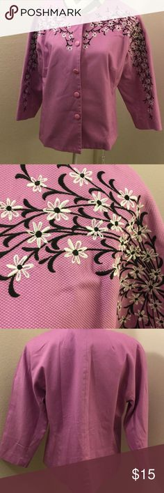 """Bob Mackie's Blossom Embroidered Pique Jacket Orchid pink 3/4 sleeves button front jewel neckline flower embroidery at shoulders and sleeves. Shell 97% cotton/3% spandex; lining 100 polyester Length 25""""  Hand wash, hang dry. Bob Mackie Jackets & Coats Blazers"""