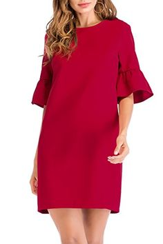 7f50ef58099 online shopping for SUNNOW Women s Bell Sleeve Shift Wear To Work Red  Cocktail Midi Dresses With Tulip Sleeve from top store.