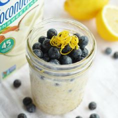 Ditch the muffin diet bomb for this Lemon Blueberry Oatmeal! No-Cook made overnight in the refrigerator.
