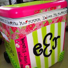 Painted cooler -- Like the bling added to the monogram Sorority Canvas, Sorority Paddles, Sorority Crafts, Sorority Recruitment, 21st Bday Ideas, Coolest Cooler, Ice Chest Cooler, Diy And Crafts, Arts And Crafts