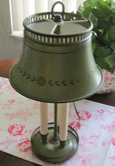 Vintage Olive Green Tole Toleware HP Table Lamp Lampshade | eBay