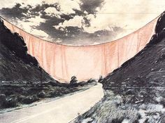 """Christo & Jeanne-Claude, """"Valley Curtain, project for Colorado"""" (detail), Christo, """"Valley Curtain, project for Colorado"""" (detail), 1970, dessin et collage, 1970"""