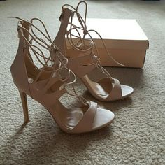 NIB Nude Strappy Sandals Never worn brand new sexy sandals Yoki Shoes Heels